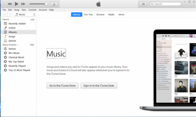 iTunes main user interface
