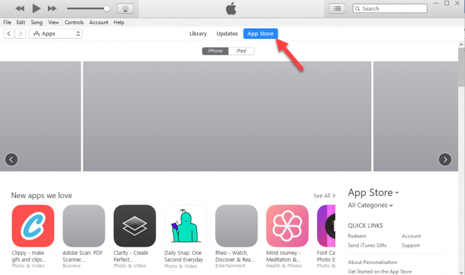 Access app store right from inside of iTunes